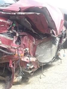 Front end damage to van.